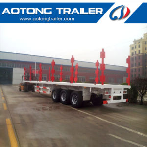 3 Axle Flatbed Container Truck Trailer with Twist Lock pictures & photos