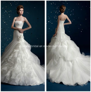 Strapless Organza Mermaid White Bridal Gowns Wedding Dresses Z5050 pictures & photos