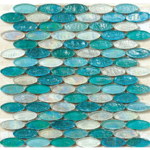 Oval Green Mixed Glazed Glass Mosaic Tile