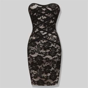 Ladies Bodycon Strapless Lace Bandage Dress pictures & photos