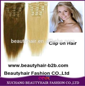 Deluxe Double Wefted Clip in Human Hair Extensions pictures & photos
