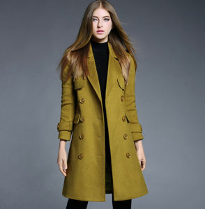 China Factory Fashion Best Sell Woolen Cloth Coat Buttons Women′s Long Jacket pictures & photos