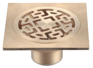 93.19 Square Rose Designer Brass Bathroom Floor Drain