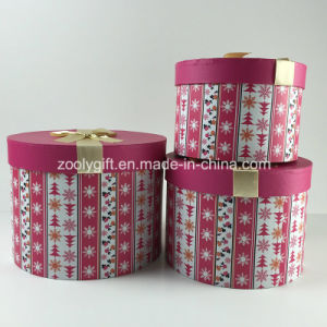 Custom Printed Cosmetics Round Paper Gift Box Sets with Ribbon pictures & photos