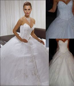Jeweled Bridal Ball Gown Lace Sequins Wedding Gown W52220 pictures & photos