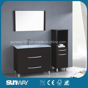 New MDF Vanity Wooden Bathroom Furniture Melamine Bathroom Cabinet with Mirror (SW-MF1203) pictures & photos