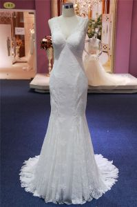 V Neck Lace Mermaid Evening Bridal Wedding Dresses pictures & photos