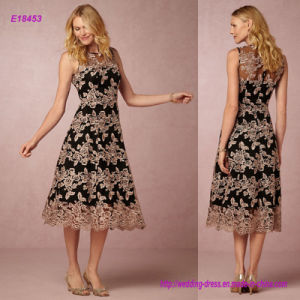 Graphic Lace Modern Appeal Tea-Length Evening Dress pictures & photos