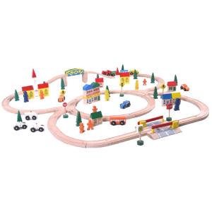100pc Wooden Rail-Way Train Set EN71