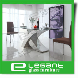 Stainless Steel Dining Table with Tempered Glass Top pictures & photos