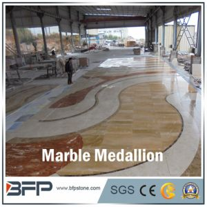 Red and Beige Marble Water Jet Medallion for Flooring Tile pictures & photos