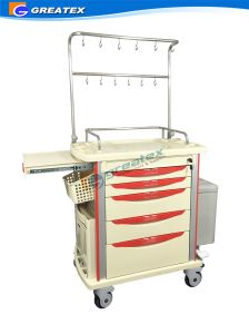 Durable ABS Medical Emergency Trolley with Infusion Hooks pictures & photos