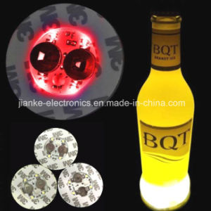 2017 Custom Advertising LED Bottle Coaster Sticker with Logo Printed (4040) pictures & photos