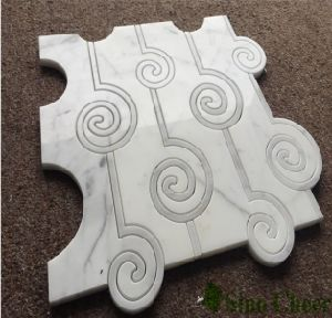 Carrara White Marble Cloud Pattern Water Jet Mosaic Tile pictures & photos