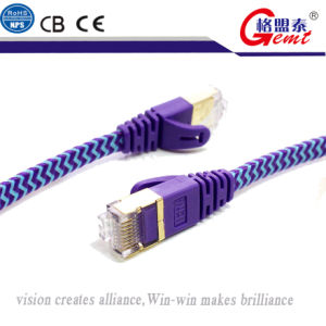 Gold Plated Cat7 Shielded RJ45 Connectors Nylon Braided Jacket pictures & photos