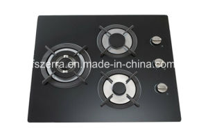 Gas Hob with Three Burner Cast Iron Tempered Glass Jzg53101 pictures & photos