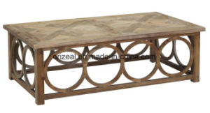 Quatrefoil Goldtone Wood and Poplar Coffee Table pictures & photos