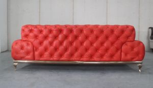 Luxury Red Button Full Grain Leather Three Seats Sofa pictures & photos