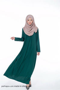 High Quality Muslim Long-Sleeved Chiffon Opaque Shirt Collar Dress pictures & photos