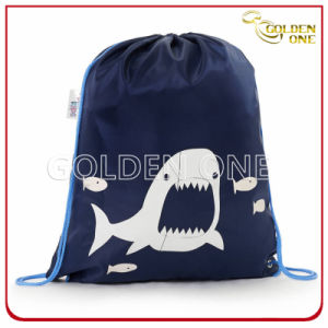 Cute Shark Shape Printed Polyester Drawstring Bag pictures & photos