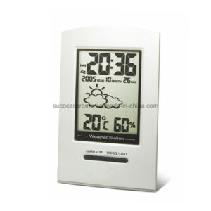 Metal Weather Station Alarm Clock, Desk Table Clock pictures & photos