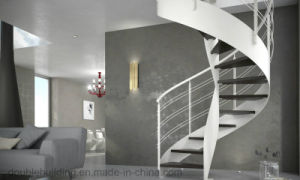 Glass Arc/Curved Staircase with Glass Railing Glass Tread for Home Decoration pictures & photos