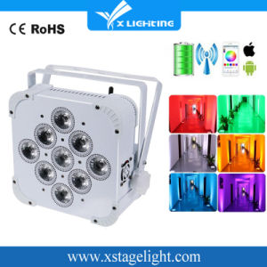 9PCS 10W RGBW 4in1 Wireless Battery Operated Flat LED PAR pictures & photos