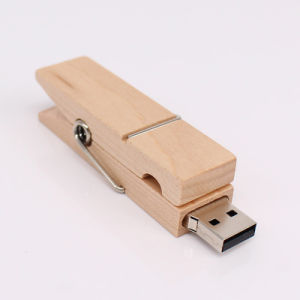 New Clip Wooden USB Flash Drive Promotional Gift pictures & photos