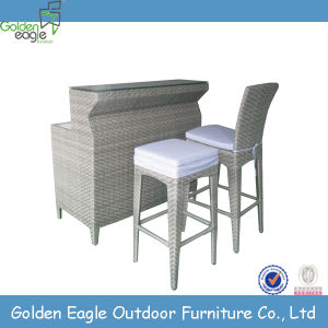 Modern Garden Hotel Rattan Furniture Bar Set in White