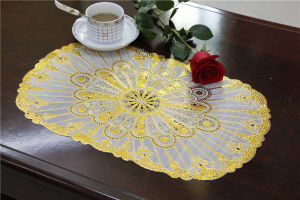 30*46cm Waterproof Oilproof PVC Tablemat with Lace Gold pictures & photos