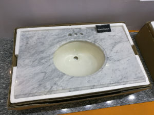 Prefab Size Bathroom Bianco Carrara Marble Vanity Countertop pictures & photos