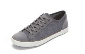 Gray Canvas and Leather Mix Plain Casual Shoes (CAS-040) pictures & photos