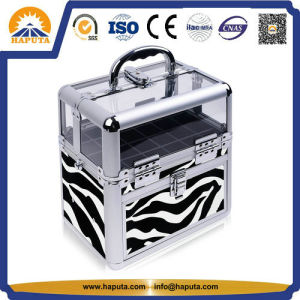 Two Tiers Carrying Acrylic Cosmetics Box Nail Polish Storage Case with Shoulder Strap-Zebra (HB-6412) pictures & photos