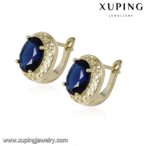 93036 Fashion Jewelry 14k Gold Round Zircon Earring with Dark Blue Stone pictures & photos