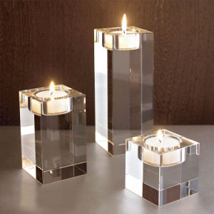 Cube Clear K9 Crystal Candle Holder for Wedding Decoration pictures & photos