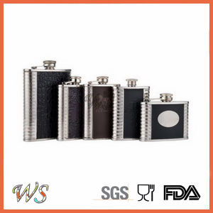 DSC_0101 Logo Customzied Metal Hip Flask/Stainless Steel Hip Flask Leather Wrap pictures & photos