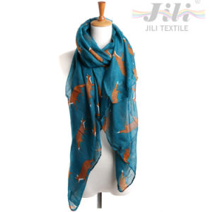 Latest Design New Fashion Voile Animal Fox Printed Long Winter Scarf for Lady