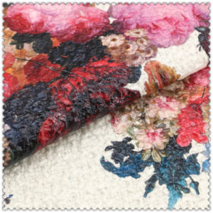 Big Flower Pattern 100% Polyester Printed Woolen Fabric pictures & photos