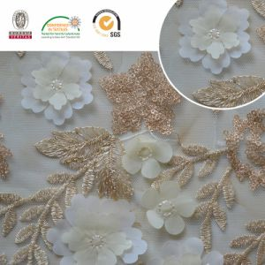 Gold Beaded Leaf Pattern Lace Fabric, Deliacate and Splendid for Wedding and Textiles C30004 pictures & photos