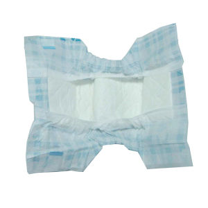 Blue Chequer Type PP Tapes Good Fluff Baby Diaper pictures & photos
