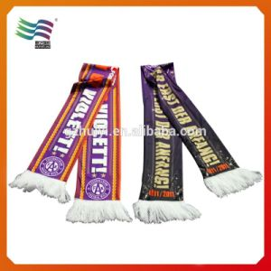 SGS Certificated Custom Knitted Cotton Football Sport Scarf (hu-2210) pictures & photos