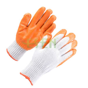 Hot Sale Gardening Glove Safety Grip Good Quality Latex Palm Coated Cotton Work Glove (D14-H1) pictures & photos