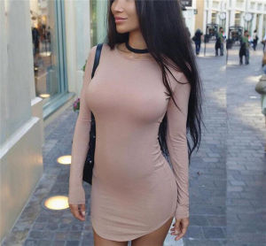 2016 Hot Sale Solid Color Long Sleeved Sexy Irregular Plus Size Dress (80027) pictures & photos