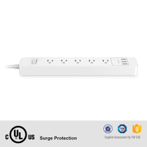 Lightning Protection 110V Us Standard Surge Protector Power Strip 4 AC Outlets 3 USB Ports 5V 2.4A Max pictures & photos
