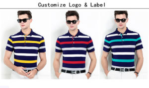 Factory Made Men′s Cotton Yarn Dyed Stripe Polo Shirt pictures & photos