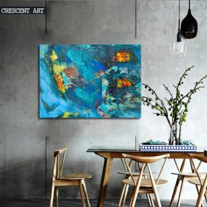 Turquoise Ocean Sea Abstract Canvas Oil Painting pictures & photos