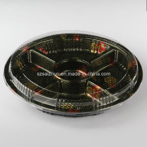 5 Compartment Round Floral Printed Top Grade Disposable Plastic Sushi Container pictures & photos