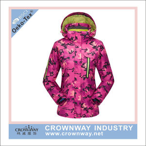 Waterproof Women Printing Ski Jacket with Fleece Jacket Inside pictures & photos