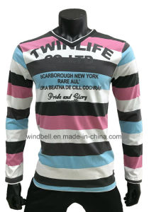 Yarn Dye Striped T-Shirt for Men with Flock Print pictures & photos