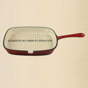 Color Enamel Cast Iron Skillet Pan with 24cm Dia pictures & photos